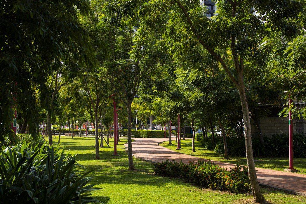 圖說:綠意盎然、大樹成蔭的向陽公園 現場實景