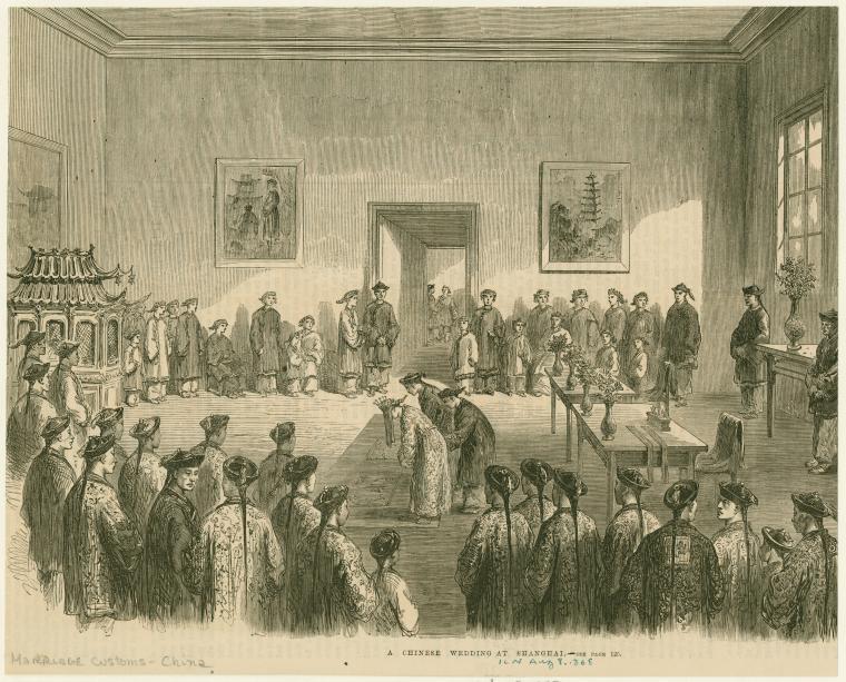 1868年上海的中式婚禮。(圖/紐約公共圖書館The New York Public Library 提供)