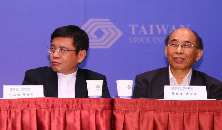 矽品董事長林文伯(左)請辭,董事會推選蔡祺文(右)出任新董事長。記者許正宏攝影/報系資料照