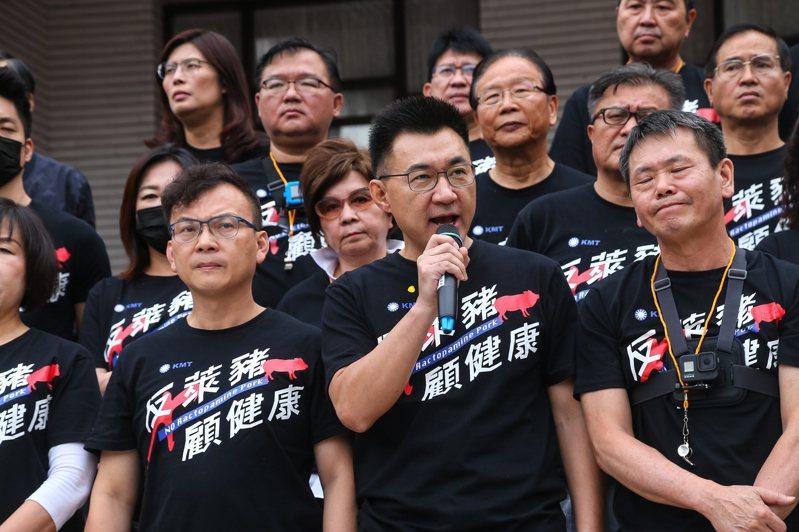 民進黨質疑國民黨消耗國家成本,國民黨主席江啟臣(前排中)昨表示,若不強烈杯葛,就是縱容獨裁的開始。記者葉信菉/攝影