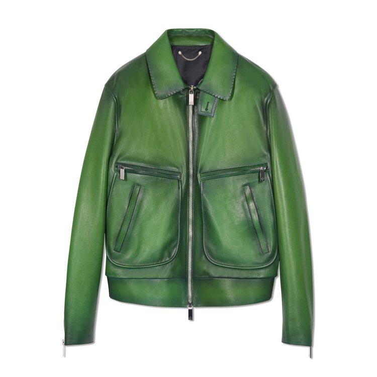 瘦子選穿的Berluti小牛皮綠色皮外套,22萬9,000元。圖/Berluti...