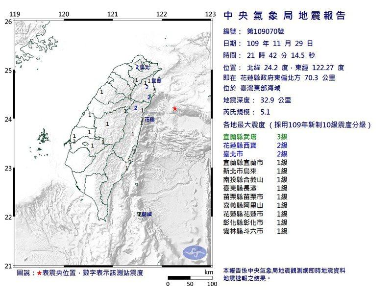 中央氣象局發布地震報告,今天晚上9時42分,在台灣東部海域發生芮氏規模5.1地震,地震深度33公里。圖/翻攝自中央氣象局