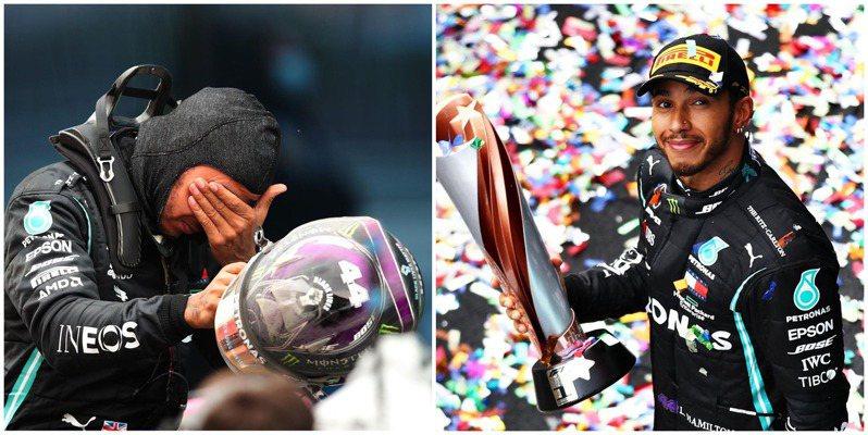 站上頒獎台時情緒激動的漢米爾頓,成為F1第二位獲得七冠的世界冠軍。(圖/IG)