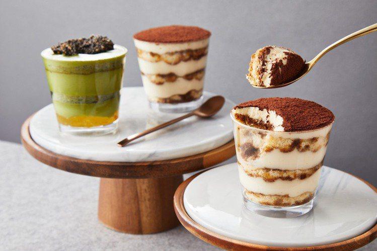 「綠皮開心果工坊」杯裝提拉米蘇系列。圖/板橋大遠百提供