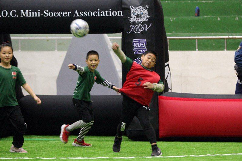 小球員參賽萌樣。圖/中華民國迷你足球協會提供