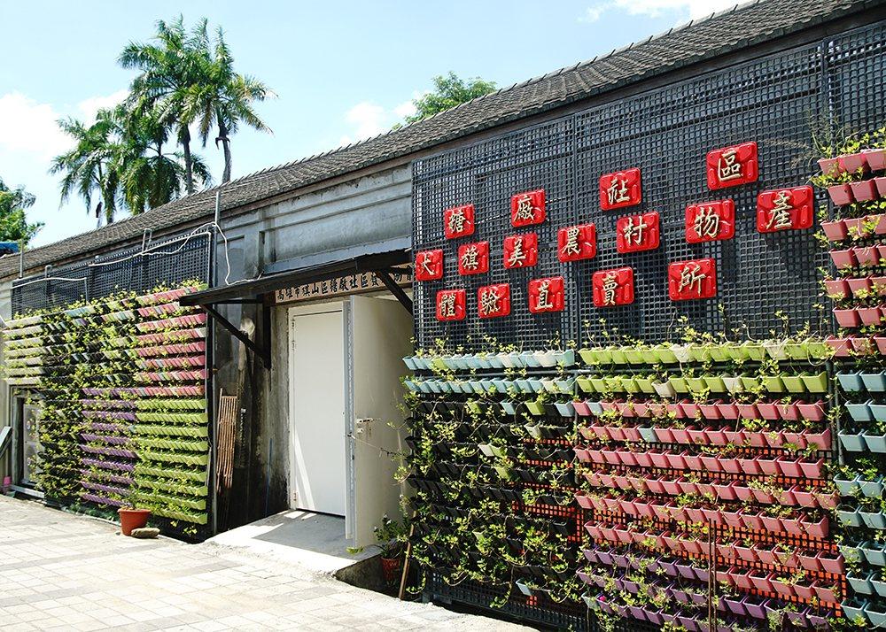 大旗美農村體驗物產直賣所外設置大面積植栽牆,不只觀賞及降溫,可食用的植物也是食農...