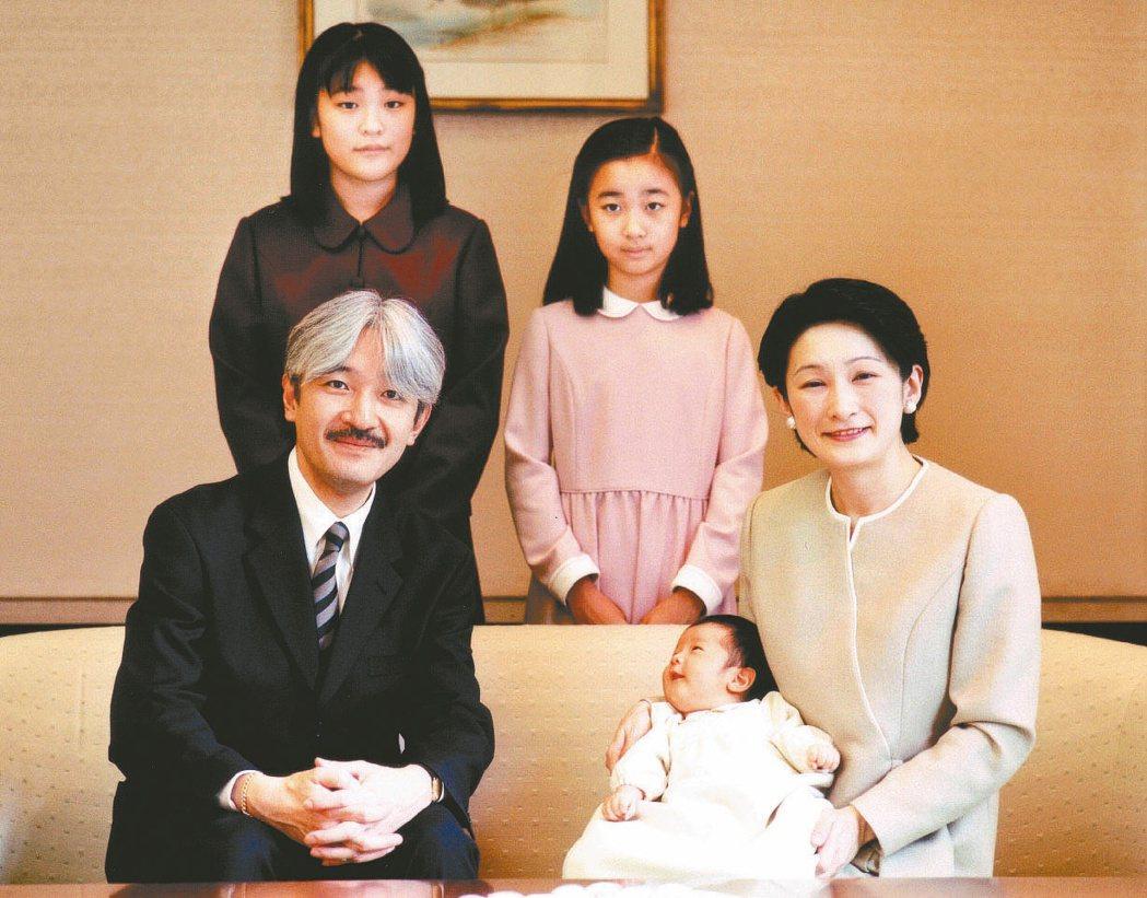 皇族的香火危機在2006年秋篠宮夫婦生下了長子悠仁之後,終於可以暫時鬆一口氣。圖...