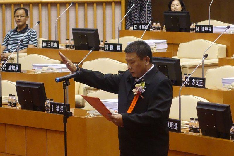 屏東縣議員江維屏今舉行宣誓儀式。聯合報系記者劉星君/攝影