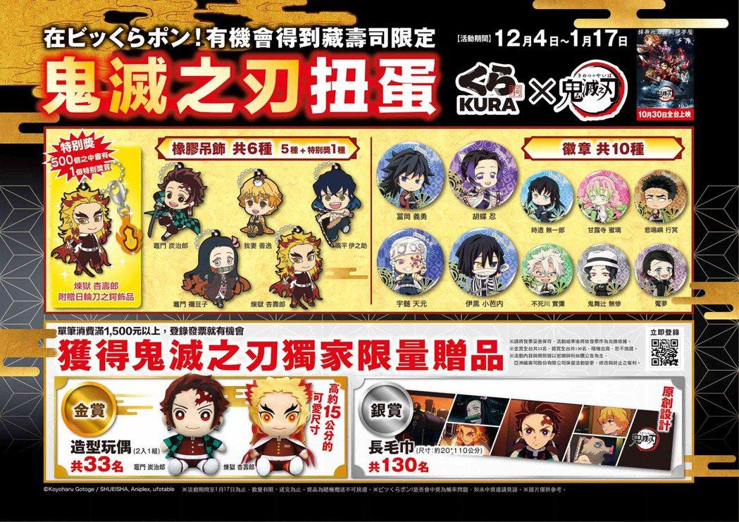 藏壽司12月4日起將於全台店鋪限量推出「鬼滅之刃」系列扭蛋,和期間限定金銀大賞。...