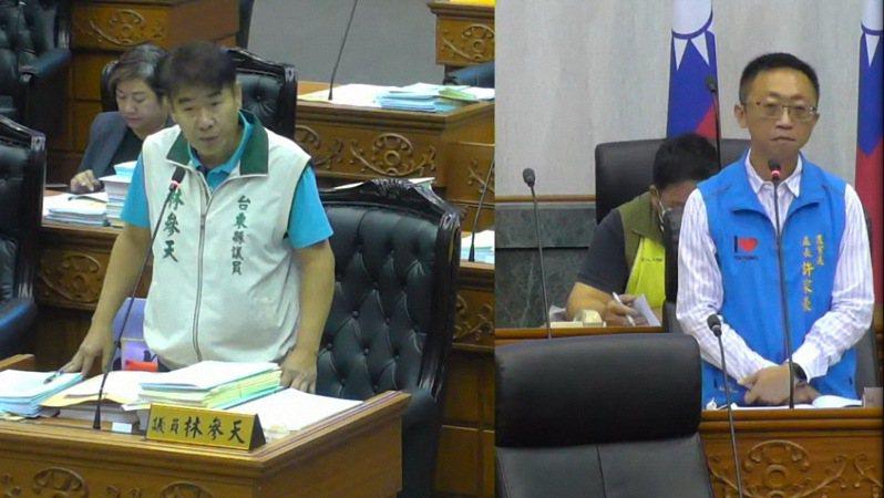 台東縣議員林參天(左)是民進黨前議員,他認為國家政策高度搖擺不定傷害人民,萊豬進口造成國家內耗。右為農業處長許家豪。記者施鴻基/翻攝