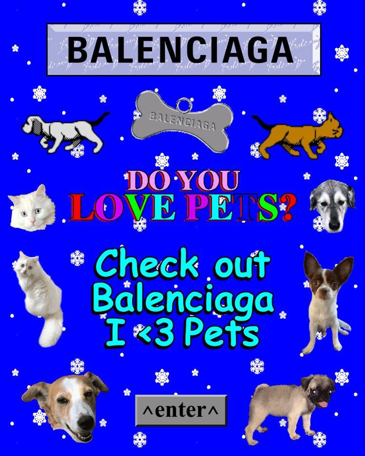 I Love Pets膠囊系列專屬網頁充滿復古風。圖/Balenciaga提供