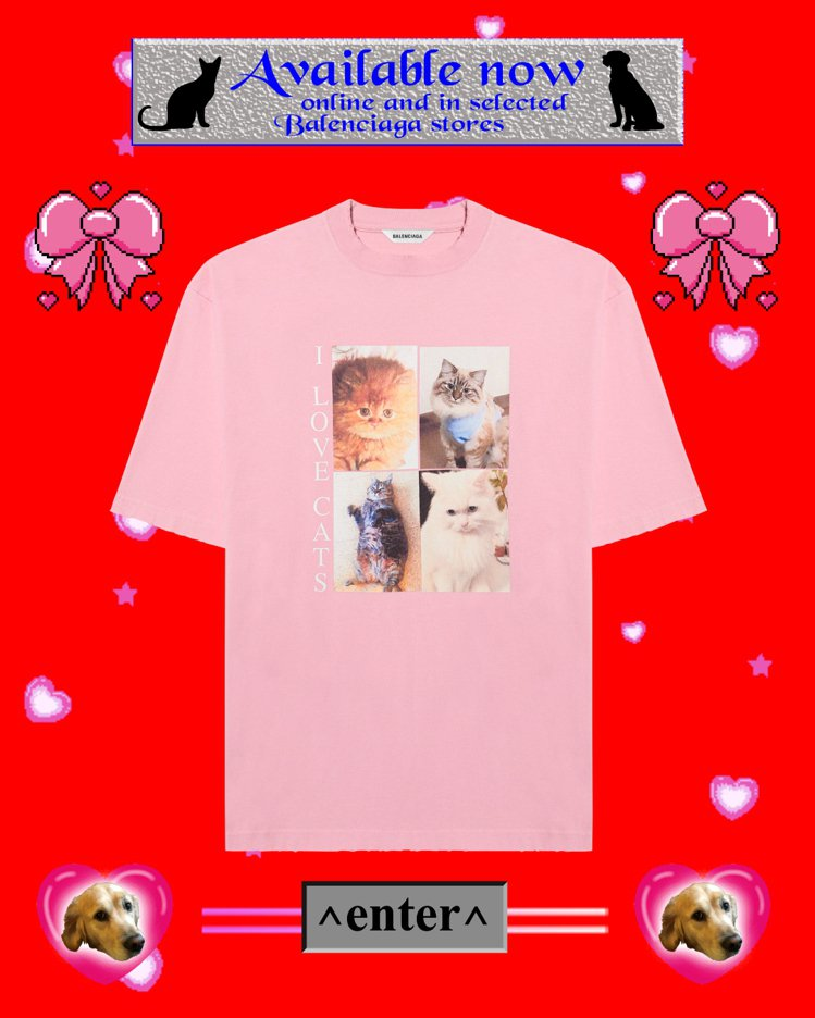 I Love Pets貓咪T恤,19,500元。圖/Balenciaga提供
