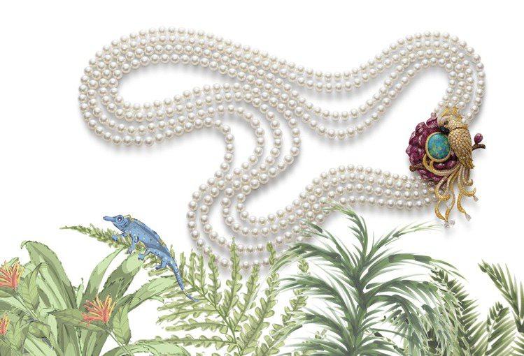 蕭邦紅地毯系列鸚鵡項鍊,獲公平採礦認證之18K黃金與鈦金鑲嵌黑蛋白石、紅寶石、彩...
