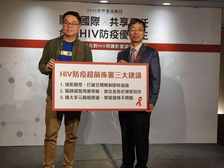 新冠肺炎恐影響HIV醫療照護,台灣同志諮詢熱線政策推廣部主任杜思誠(左)及台灣愛...