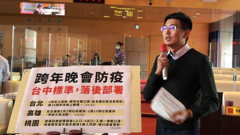 台中市議員黃守達要求市府速提大型活動辦理標準,跨年辦不辦眾所關切。記者陳秋雲/攝影