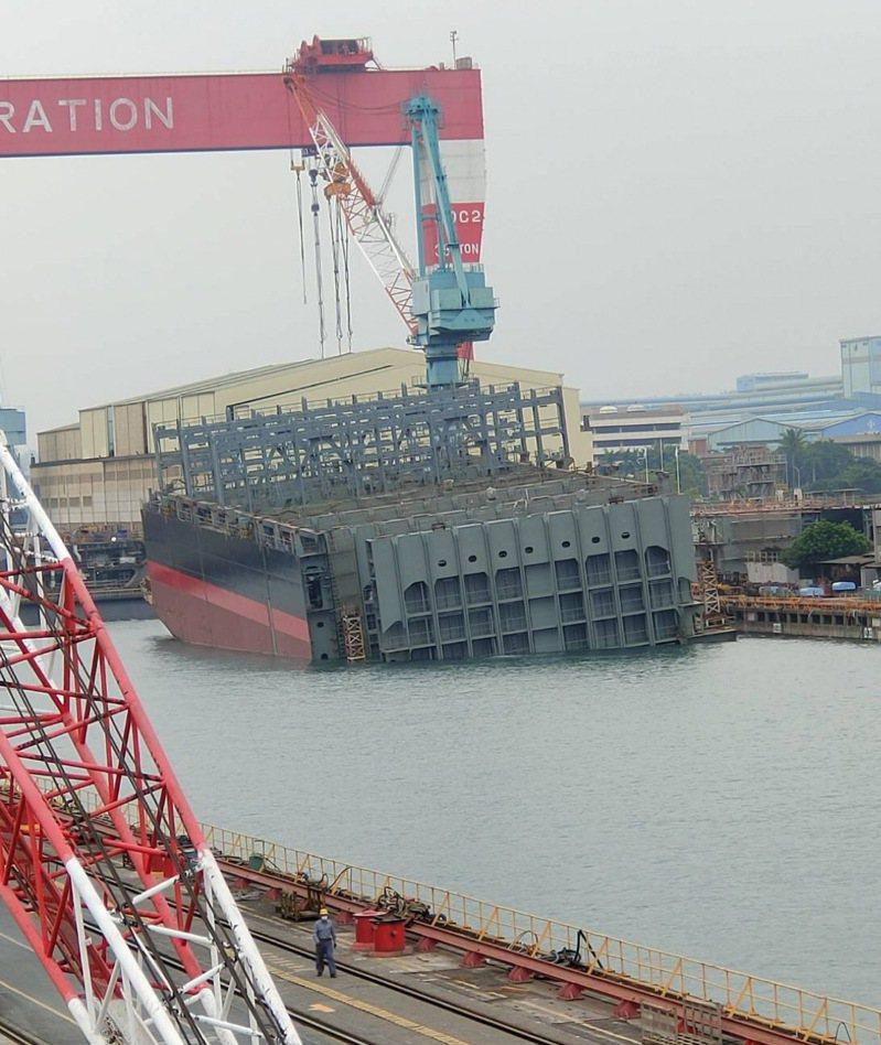台船高雄廠上周接連出包,潛鑑國造才開工,28日船塢內就險些上演鐵達尼號沉船事件,很誇張。圖/民眾提供