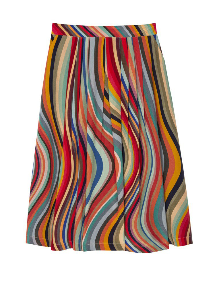 彩條長裙,23,500元。圖/Paul Smith提供