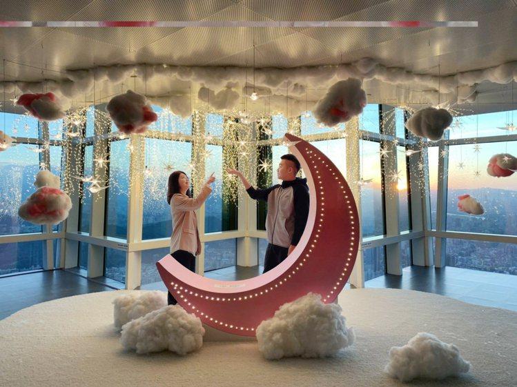 迎接跨年、新年,台北101在89樓觀景台特別打造浪漫打卡點。圖/台北101提供