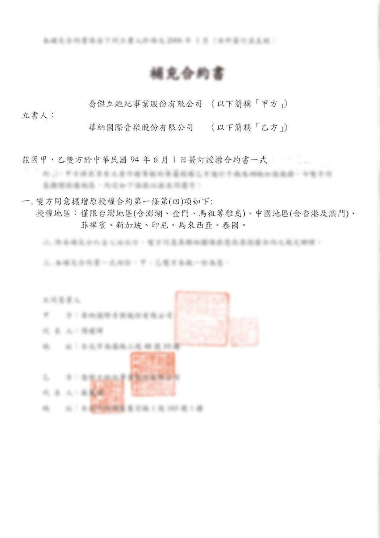 孫德榮出示與華納簽訂的授權合約。圖/經紀人提供