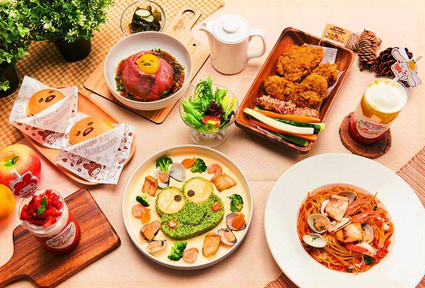 三麗鷗主題餐點「大眼蛙奶油海鮮青醬燉飯、蛋黃哥和風肉肉山、Mini雙漢堡、三味炸...