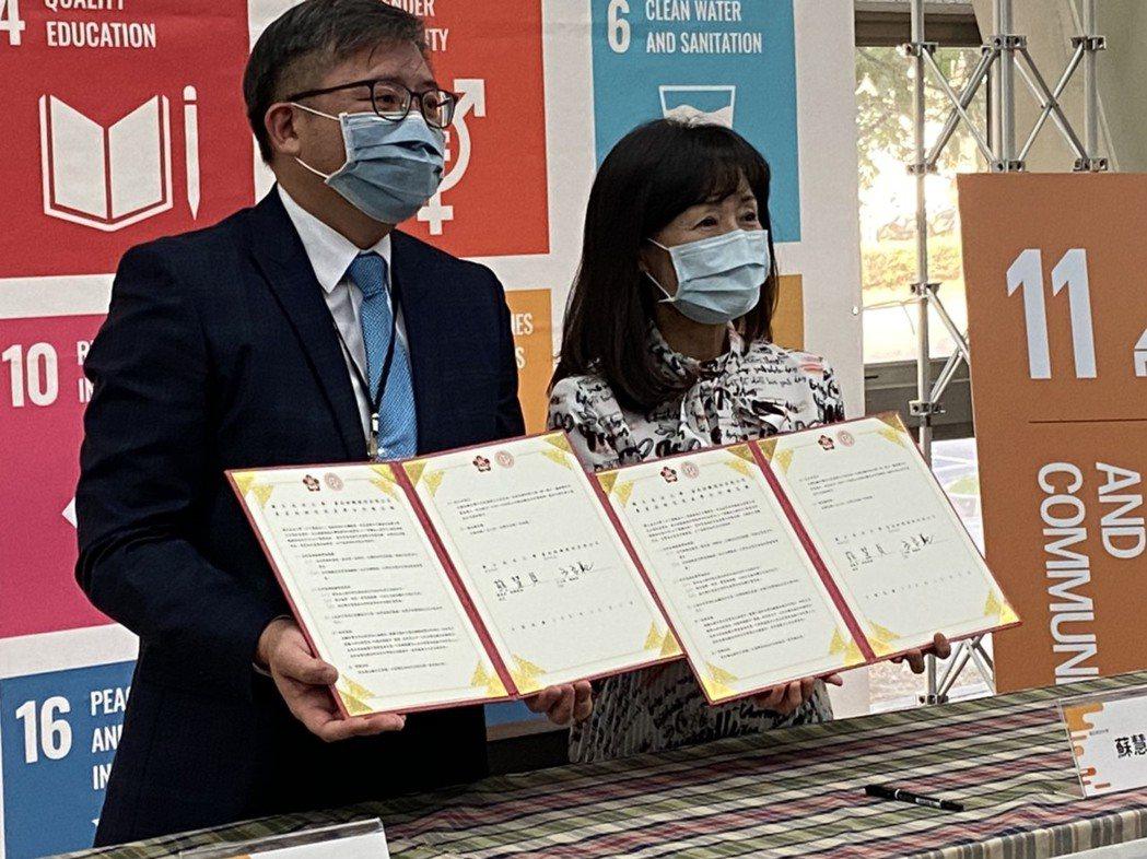 成大校長蘇慧貞(右)與南紡總經理王立範代表雙方簽署MOU。 成大/提供