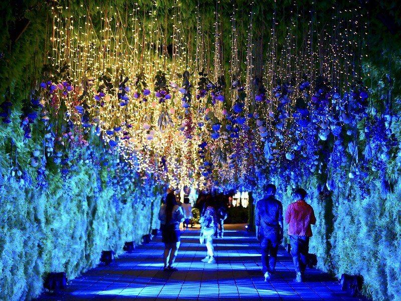 「花漾」燈區時,就如同走入時光隧道般,結合竹片和仿真花草的作品。