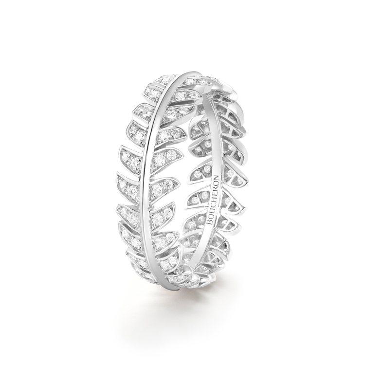 Boucheron Plume de Paon白金鑽戒,18萬2,500元。圖 ...