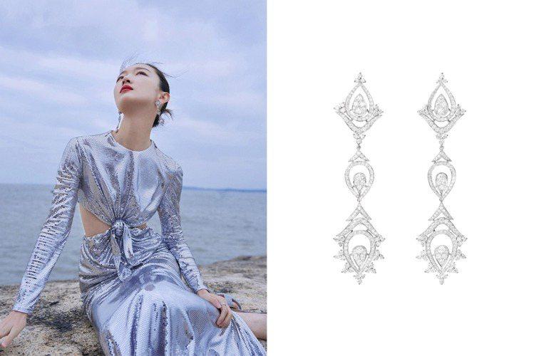 周冬雨配戴的Boucheron MEHNDI耳環,靈感源自波斯文化的佩斯里花紋(...