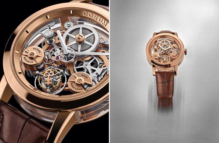 甫贏得義大利生活風格雜誌陀飛輪大獎的CORUM LAB 02鏤空陀飛輪腕表,像一...