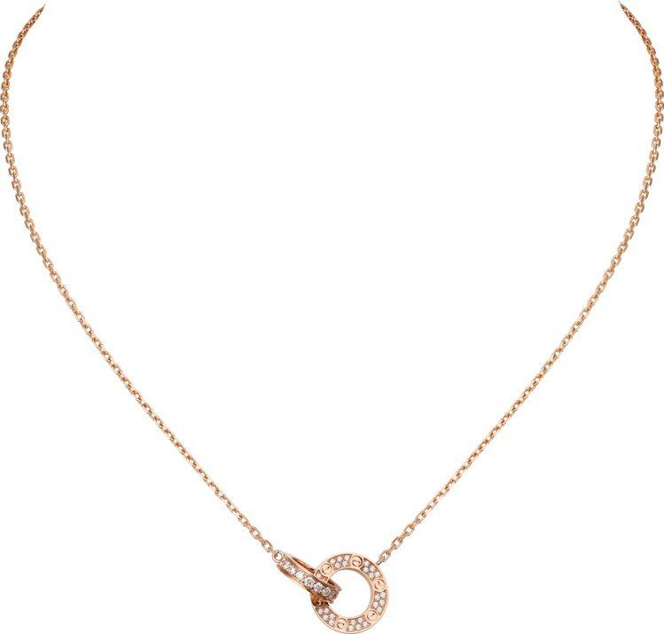 卡地亞LOVE玫瑰金鋪鑲項鍊,玫瑰K金鑲嵌鑽石,15萬4,000元。圖/卡地亞提...