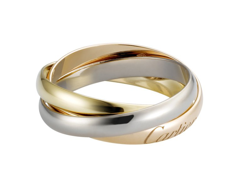 卡地亞Trinity窄版三環戒指,玫瑰K金、黃K金、白K金,29,900元起。圖...