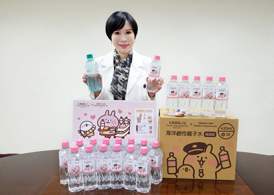 臺鹽與高鐵合作,設計「台灣高鐵與卡娜赫拉的小動物」聯名出品的「台鹽海洋鹼性離子水...