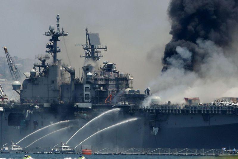 美國「好人理查號」兩棲攻擊艦7月12日停泊在加州聖地牙哥港時失火。(法新社)