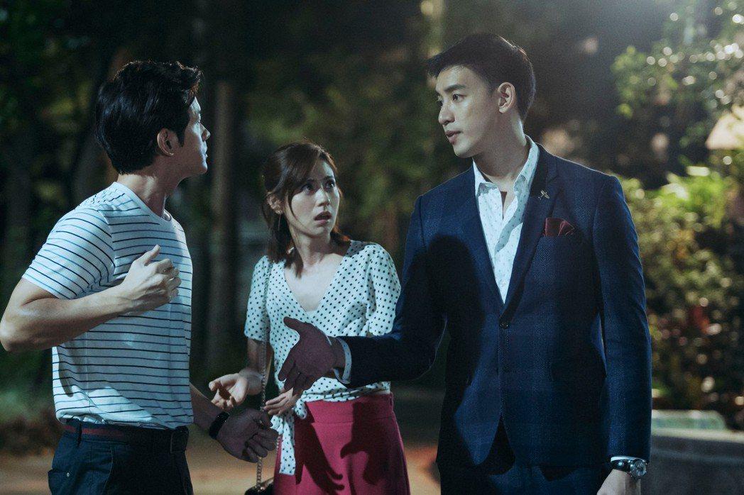 林予晞在「戒指流浪記」中糾葛於宥勝(左)、「前男友」黃柏鈞三角習題。圖/HBO