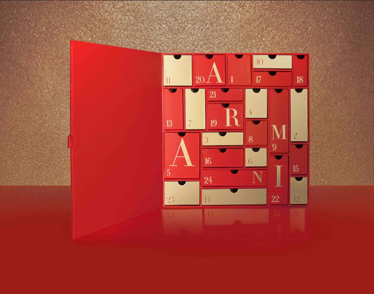 GIORGIO ARMANI亞曼尼倒數月曆,內有24件禮物。圖/GIORGIO ...