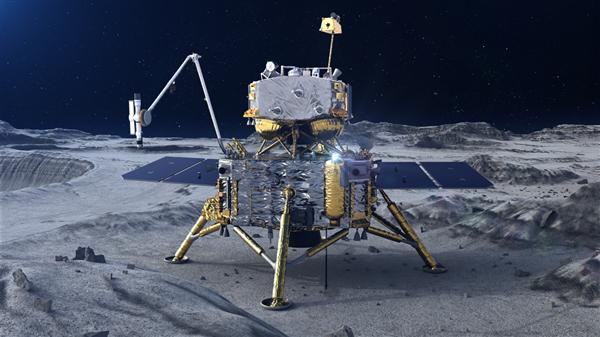 嫦娥五號「著陸器上升器」組合體1日晚成功降落月球表面。(中國探月示意圖)