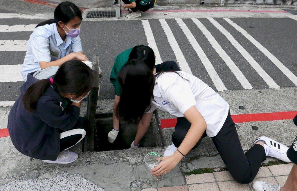 菸蒂常被丟到水溝中,高中生在西門町認真清除水溝裡的菸蒂。 圖/鄒敏惠 攝影