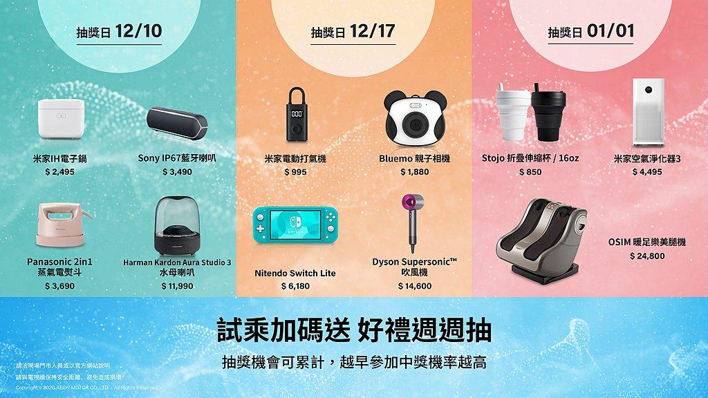 迎接耶誕節到來,宏佳騰推出試乘加碼送好禮週週抽活動。 圖/宏佳騰提供