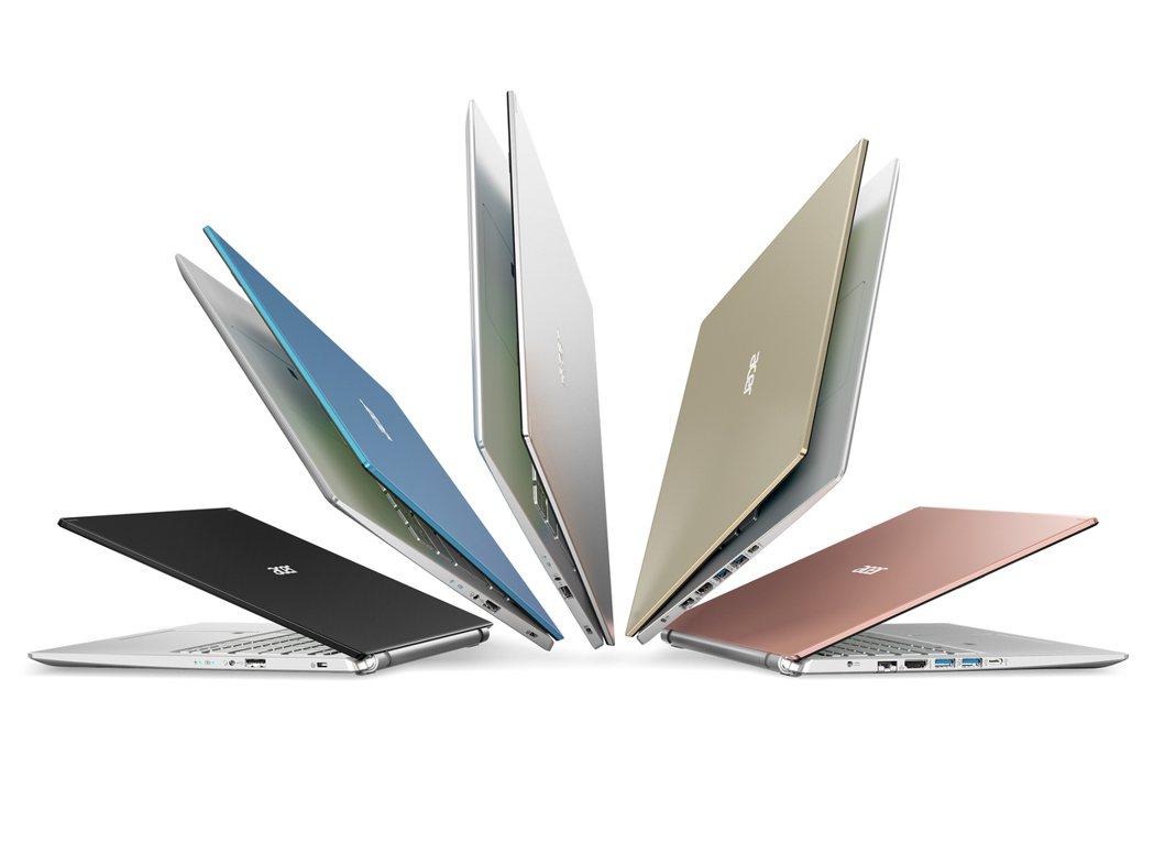 14吋Aspire 5(A514-54G)推出5款新色,包括銀、黑、藍、粉及金色...