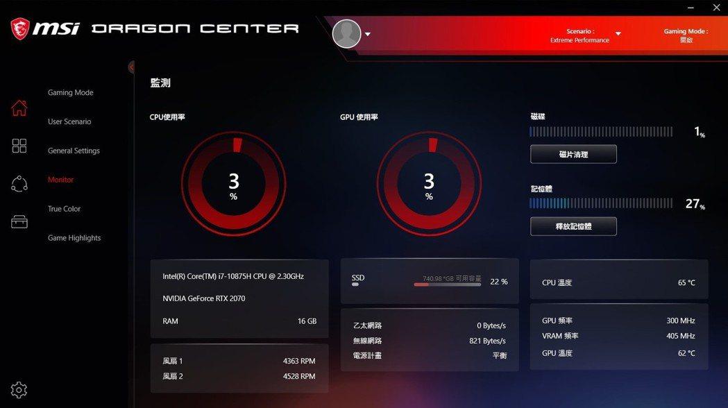 微星行銷窗口指出,自家的系統整合控制平台Dragon Center中,將效能調至...