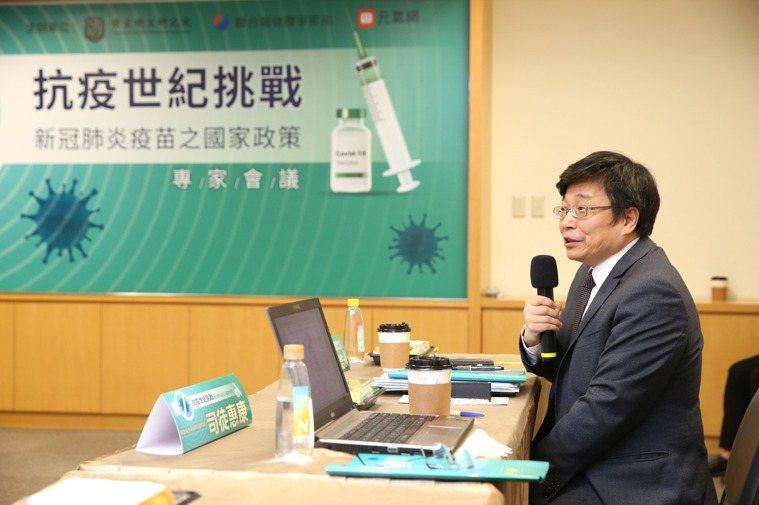 在「抗疫世紀挑戰─新冠肺炎疫苗之國家政策」專家會議中,疾管署長周志浩說,因為疫苗...