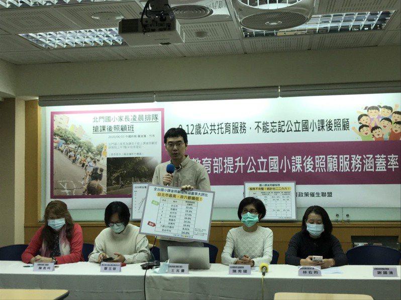 托育政策催生聯盟今舉行記者會公告各縣市公立國小課後照顧涵蓋率,台北市最高,台南市最低。記者潘乃欣/攝影