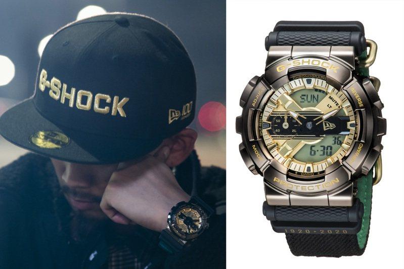 潮帽品牌New Era找來CASIO旗下的G-SHOCK合作,創造了GM-110NE-1A腕表,許多的細節元素值得讓人玩味。圖/CASIO提供