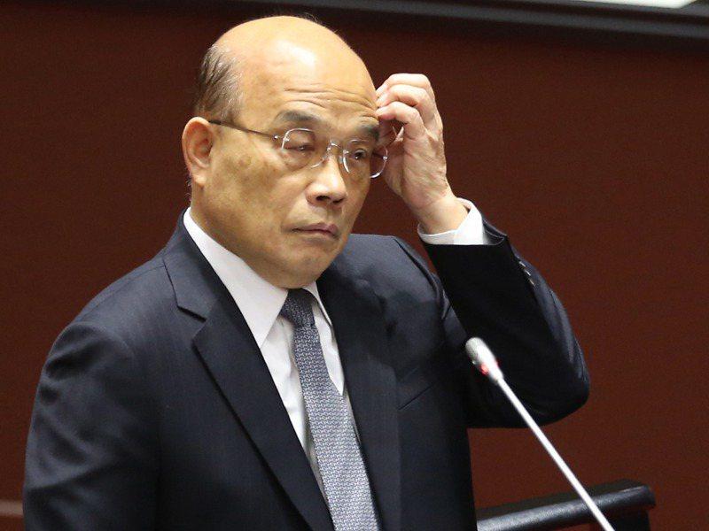 行政院長蘇貞昌昨在立法院首度道歉,行政院未來製作政策說明圖卡時會標示出處。記者曾學仁/攝影