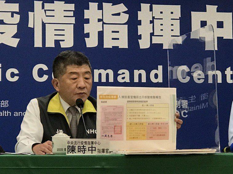 指揮中心指揮官陳時中宣布,持偽造或變照的核酸檢驗報告入境,裁罰15萬元且移送法辦...