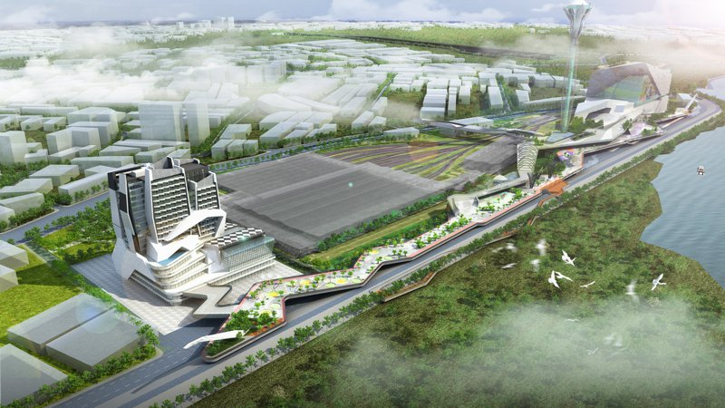 三重果菜市場預計於蘆洲北側重劃區異地重建,此為完工模擬圖。圖/新北農業局提供