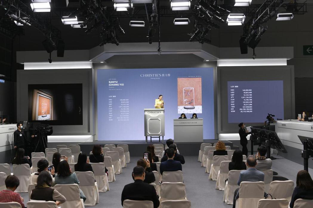 香港佳士得秋拍昨天為常玉作品「八尾金魚」設立專場拍賣,成交價約新台幣6.2億元。...