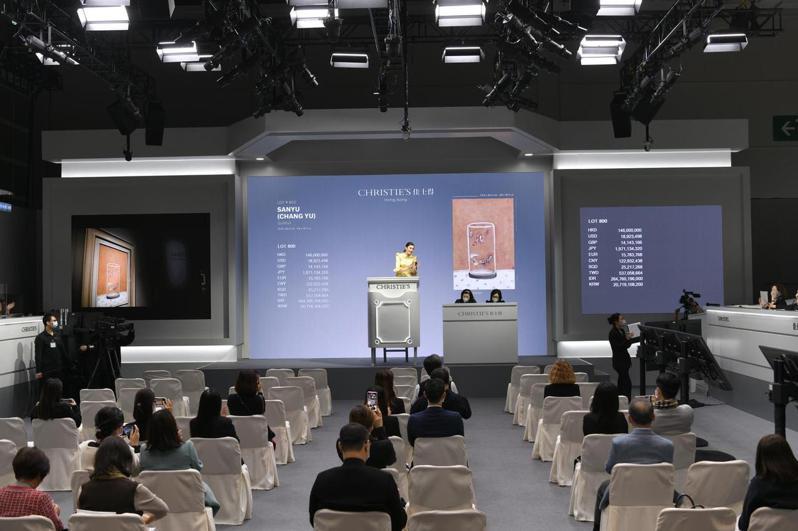 香港佳士得秋拍昨天為常玉作品「八尾金魚」設立專場拍賣,成交價約新台幣6.2億元。香港佳士得/提供