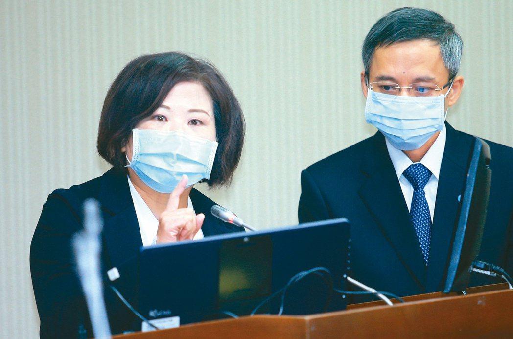 勞動部長許銘春(左)與勞金局長蔡豐清昨日在立法院接受質詢,承諾兩周內完成檢討。記...