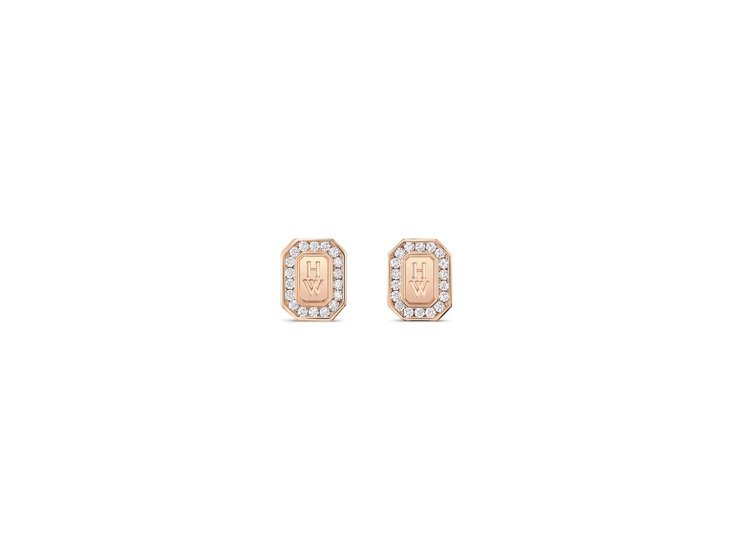 Harry Winston H.W. Logo系列18K玫瑰金鑽石耳環,約10萬...